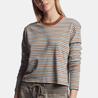 James Perse Striped Mock Neck Tee