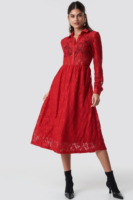 NA-KD Long Sleeve Lace Midi Dress