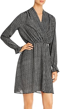Vero Moda Individual Long Sleeve Faux Wrap Dress
