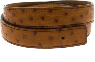 Hermes Brown Ostrich Belt Strap 85 CM