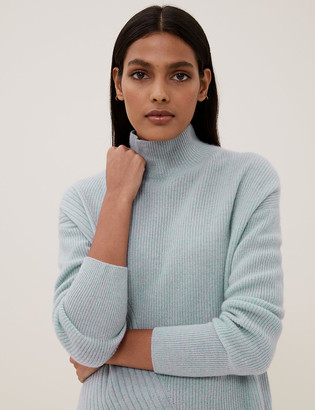 Marks and Spencer Pure Cashmere Ribbed Funnel Neck Jumper