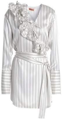 Maggie Marilyn Ruffled Striped Silk-satin Mini Dress