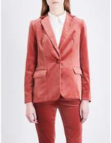 Frame Ladies Red Tailored-Fit Velvet Blazer