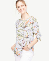 Ann Taylor Tall Tropical Tie Sleeve Blouse