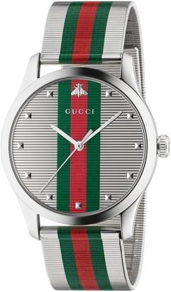 Gucci G-Timeless Bee Stripe Mesh Band Watch, 42mm