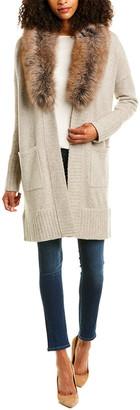 Forte Cashmere Shawl Collar Wool & Cashmere-Blend Cardigan