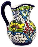 Wildflower Motif Mexican Majolica Ceramic Pitcher, 'Comonfort Wildflowers'