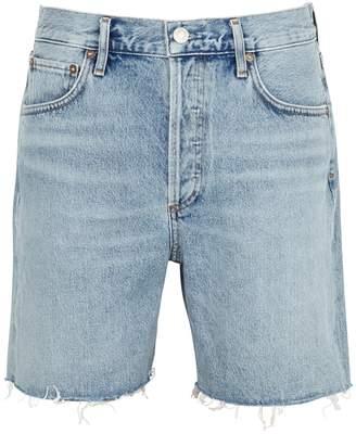 A Gold E Agolde AGOLDE Rumi Light Blue Denim Shorts