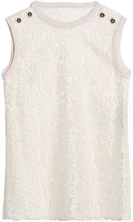 Dolce & Gabbana Button-Embellished Corded Lace Top