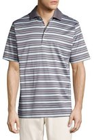 Peter Millar Sandy Striped Cotton Lisle Polo Shirt, Gray/Mint