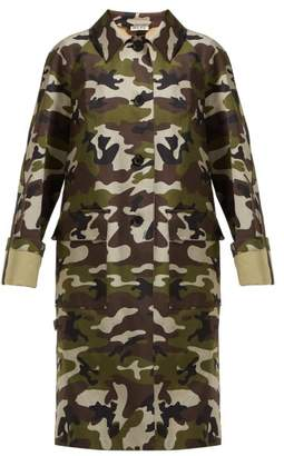 Miu Miu Camouflage Print Cotton Gabardine Coat - Womens - Green Multi