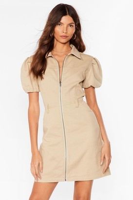 Nasty Gal Womens Zip It Puff Sleeve Mini Dress - Oatmeal
