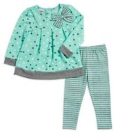 Nannette Little Girl's Bow-Accented Patterned Top and Leggings Set