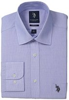 U.S. Polo Assn. Men's End on End Slim Fit Semi Spread Collar Dress Shirt