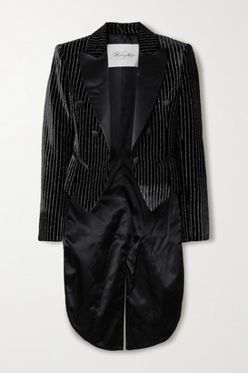 Redemption Satin-trimmed Glittered Striped Velvet Jacket - Black
