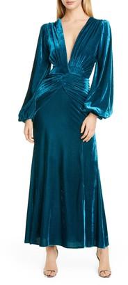 PatBO Long Sleeve Velvet Gown