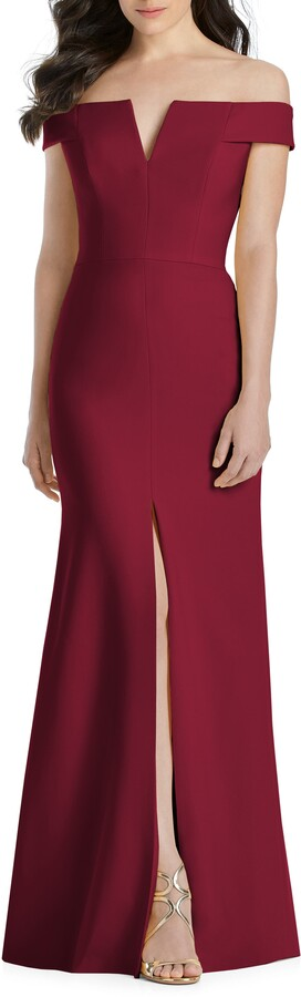 Dessy Collection Notched Off the Shoulder Crepe Gown