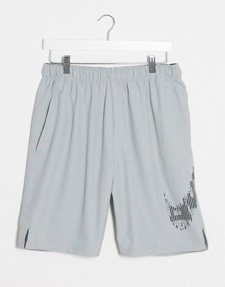Nike Training shorts with camo swoosh in grey