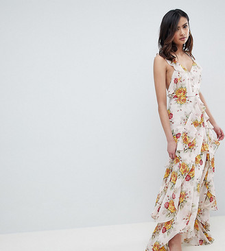 Asos Tall DESIGN Tall ruffle maxi dress in rose floral print