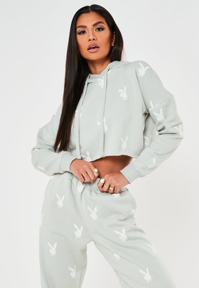 Missguided Playboy X Grey Repeat Print Cropped Hoodie