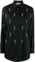 No.21 rhinestone-embellished pointed-collar shirt