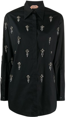 No.21 Rhinestone-Embellished Pointed-Collar Shirt