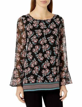 Lark & Ro Amazon Brand Women's Long Sleeve Tunic with Bell Cuff Sleeve