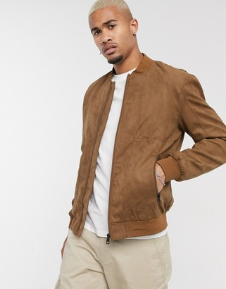 ONLY & SONS faux suede bomber in tan