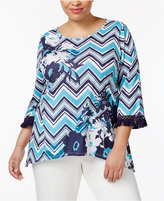 Alfred Dunner Plus Size Scenic Route Collection Printed Handkerchief-Hem Top