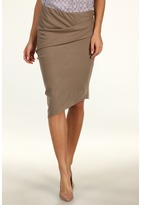 Halston Wool Pencil Skirt with Draped Waist and Asymmetrical Hem (Fossil) - Apparel