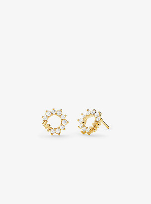 Michael Kors Precious Metal-Plated Sterling Silver Pave Halo Stud Earrings - Gold