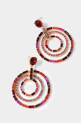 francesca's Lea Layered Baguette Circle Drop Earrings - Magenta