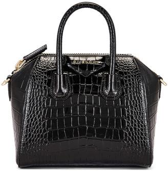 Givenchy Mini Embossed Croc Antigona in Black | FWRD