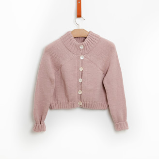 Bunti - The Carmellia Hand Knitted Wool Cardigan in Blush - S/M | wool | pink - Pink/Pink