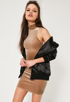 Missguided Petite Exclusive Brown High Neck Mini Dress