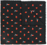 Saint Laurent red heart, lightning bolt and flame print scarf - women - Cotton/Wool - One Size