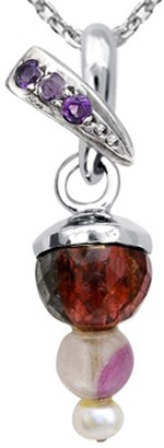 Essence Jewelry Country Of Tourmaline, Fluorite, Pearl, Amethyst Sterling Silver Ball Short Pendent Pendant by Essence Jewelry