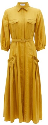 Gabriela Hearst Woodward Aloe-infused Linen Shirt Dress - Yellow