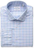Calvin Klein Men's Non Iron Slim Fit Large Plaid Spead Collar Dress Shirt