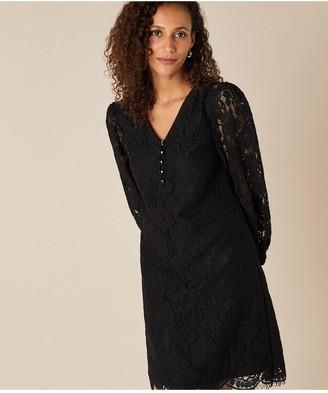 Monsoon Lace Knee Length Dress - Black