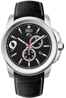 Jivago JIVAG HairO Gliese Mens All Black Leather Strap Watch