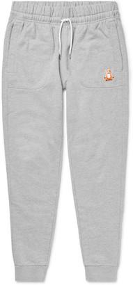 MAISON KITSUNÉ Slim-Fit Logo-Appliqued Loopback Cotton-Jersey Sweatpants