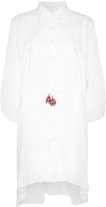 All Things Mochi Malaya floral-embroidered shirt dress