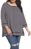 Plus Size Women's Caslon Three Quarter Sleeve Modal Blend Knit Top
