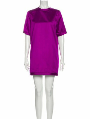 Burberry Crew Neck Mini Dress Purple