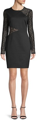 BCBGMAXAZRIA Jorden Long-Sleeve Lace Insert Dress