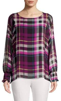 Vince Camuto Batwing Plaid Top