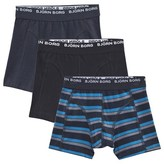 Bjorn Borg Black and Blue Three Pack Stripe Boxer Shorts