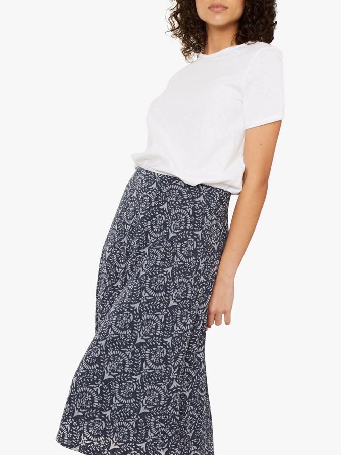 White Stuff Chestern Burnout Midi Skirt, Navy