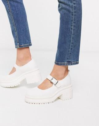 Asos DESIGN Shaky chunky mary-jane heels in white